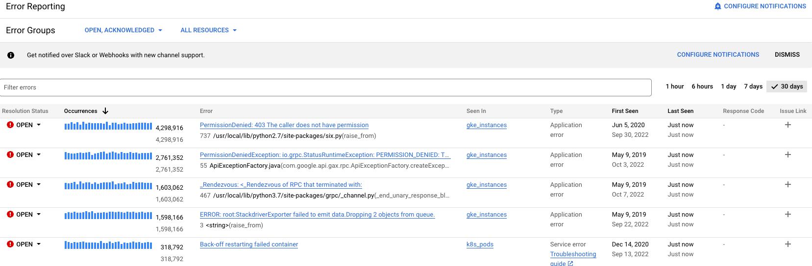 La interfaz de usuario que muestra casos de lotes de errores de ejemplo.