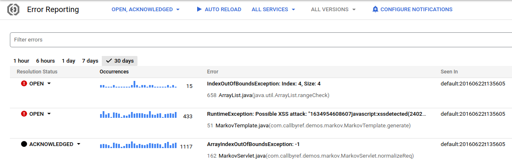 오류 예시의 발생 횟수를 일괄적으로 보여주는 사용자 인터페이스