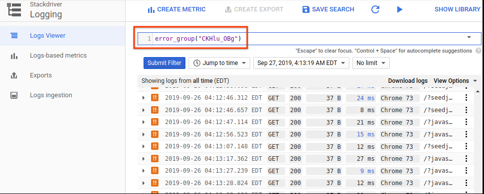 The user interface showing the error group filter.