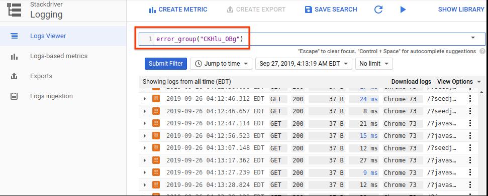 A interface do usuário mostrando o filtro do grupo de erros.