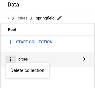 """Clique em """"Excluir coleção"""" no menu da coluna de documentos"""