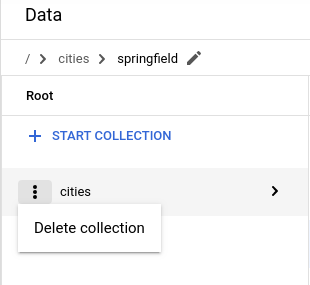 Click Delete collection from the menu in the documents column