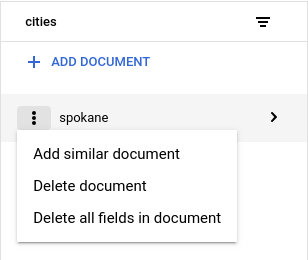 """Clique em """"Excluir documento"""" ou """"Excluir campos do documento"""" no menu de contexto da coluna de detalhes do documento"""
