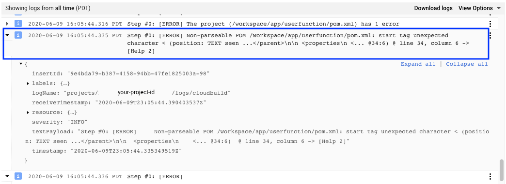 Screenshot mit Build-Logeintrag