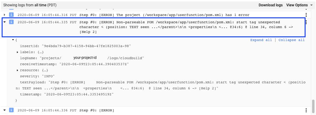 Captura de tela que mostra a entrada de registro do build