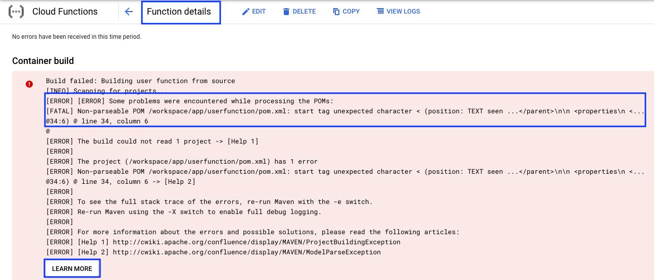 Screenshot mit der Ausgabe für den Bereich Container-Build