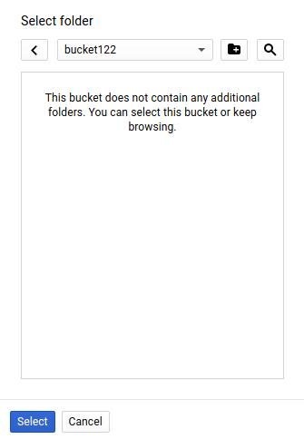 Screenshot that shows bucket creation process