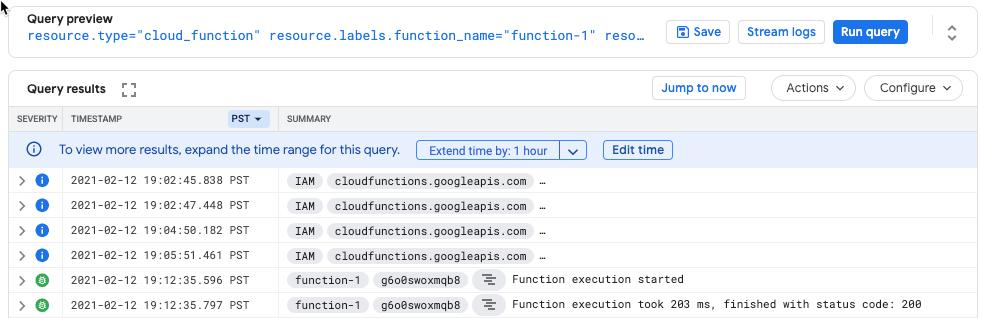 """Grafik: Screenshot mit dem Feld """"Logs"""" und dem Code200, der einen erfolgreichen Test anzeigt"""