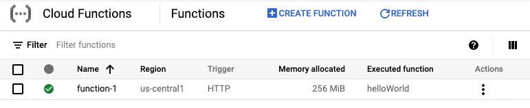 Screenshot that shows function deployment process