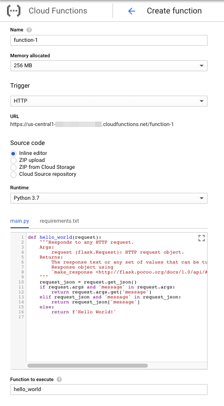 Screenshot showing function creation form for Python
