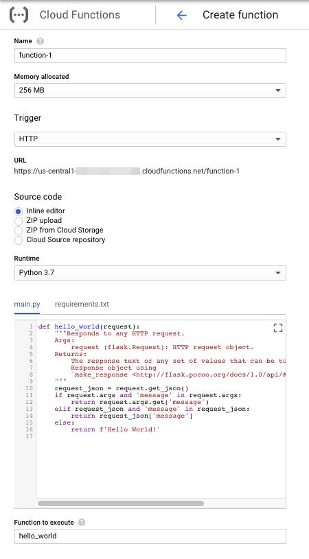 Captura de pantalla que muestra el formulario de creación de funciones para Python