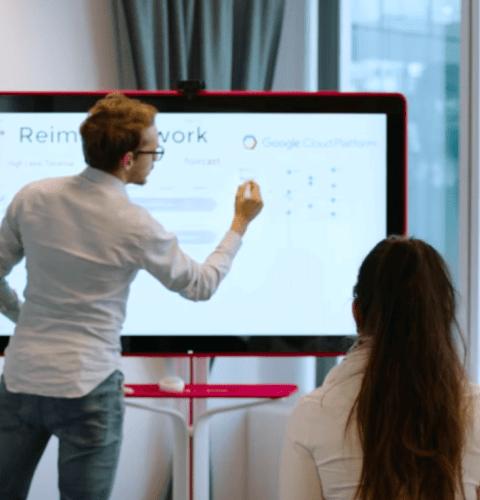 Grupo usando uma lousa interativa digital
