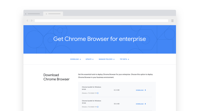 Miniatura de la página de descargas de Chrome Enterprise