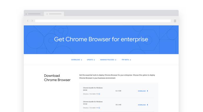 Thumbnail van de Chrome Enterprise-downloadpagina
