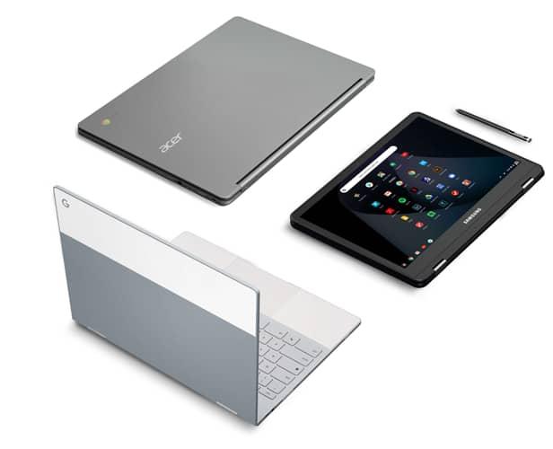 Una variedad de modelos de Chromebook, incluidos los táctiles y los convertibles