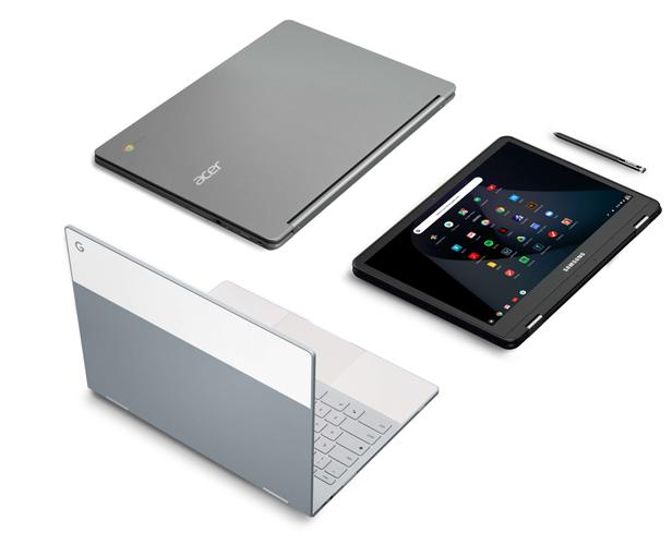 タッチスクリーン型やコンバーチブル型を含む、幅広い種類の Chromebook モデル