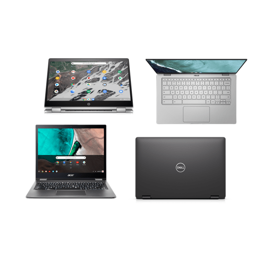 Berbagai model Chromebook termasuk yang dilengkapi layar sentuh dan konvertibel