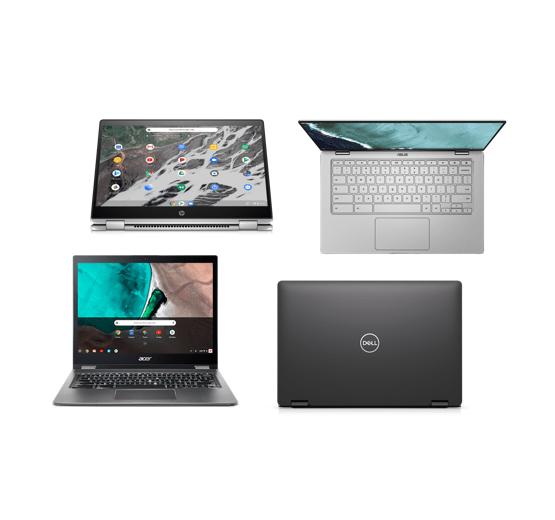 Diversos modelos de Chromebook, incluindo modelos sensíveis ao toque e conversíveis