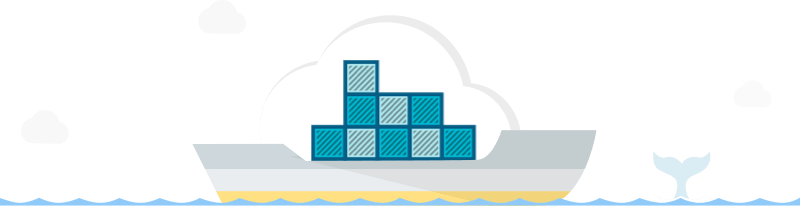 Cargo ship with containers embedded within a cloud. A whale swims in the background.