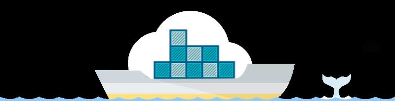Vrachtschip met containers in een wolk. Op de achtergrond zwemt een walvis.