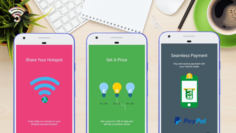 Screenshots of Simply app on phones