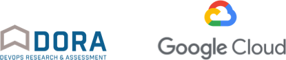 Logotipos de DORA (Devops Research and Assessment) y Google Cloud