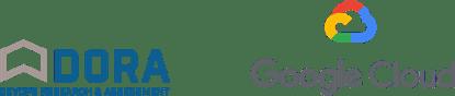 Logotipos da Dora (Devops Research and Assessment) e do Google Cloud