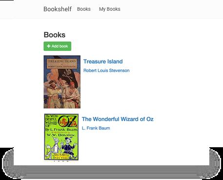 두 개의 책 제목, 'Treasure Island'와 'The Wonderful World of Oz'가 표시된 Bookshelf 웹 앱