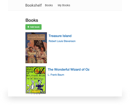 Bookshelf web app with two titles displayed: Treasure Island and The Wonderful World of Oz