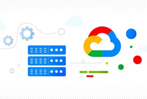 Imagem dos servidores que se conectam ao logotipo do Google Cloud.