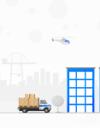 倉庫に荷物を配送するトラックと上空のヘリコプター。