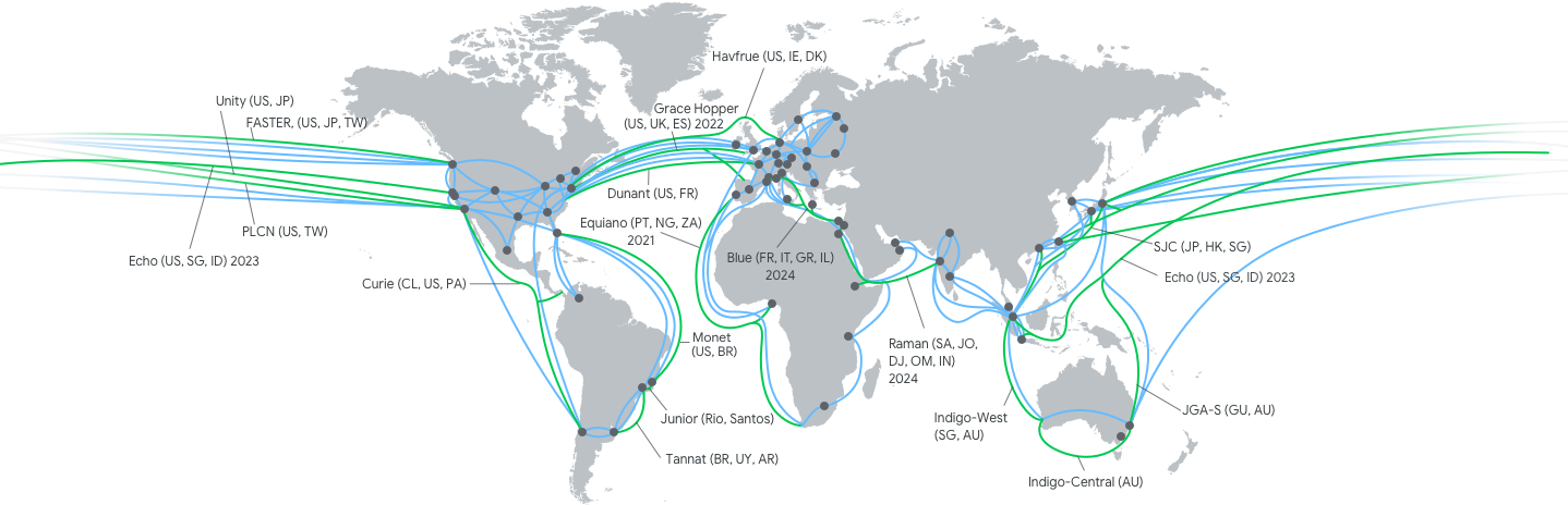 리전 및 영역의 위치를 핀으로 표시한 지도