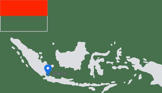 Bendera Indonesia dengan peta dan pin yang menandai Jakarta