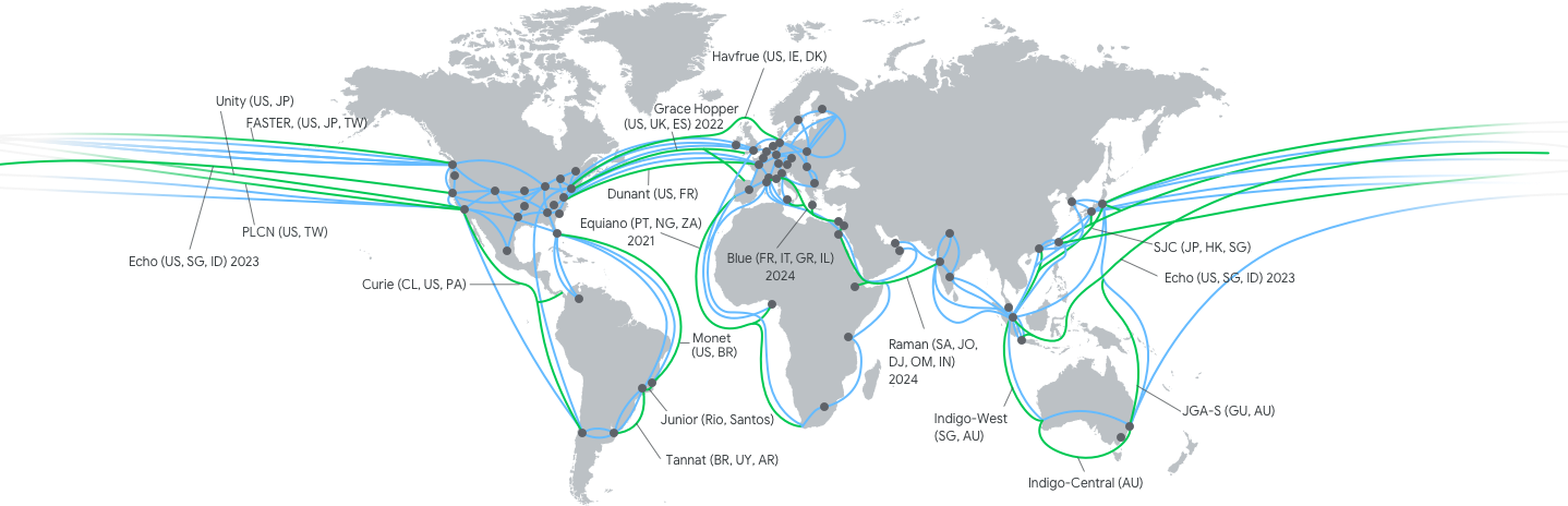 map of current and future cable connections