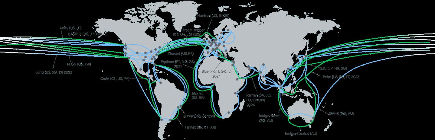現在と開設予定のケーブル接続を示した地図