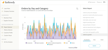 Customized report graph using embedded analytics