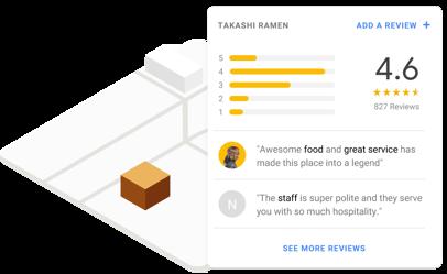 Tarjeta de Maps con datos de ubicación del restaurante