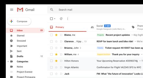 Captura de pantalla de la IU de Gmail