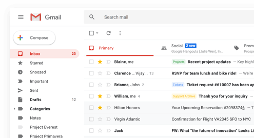 Imagem da tela de IU do Gmail