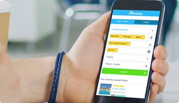 Visualização do app da loveholidays