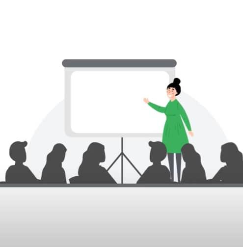 Treinamento em uma sala de aula virtual