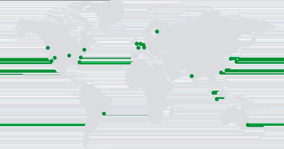 Bölgesel merkezleri ve küresel kapsamı gösteren yeşil renkli noktalara sahip dünya haritası.