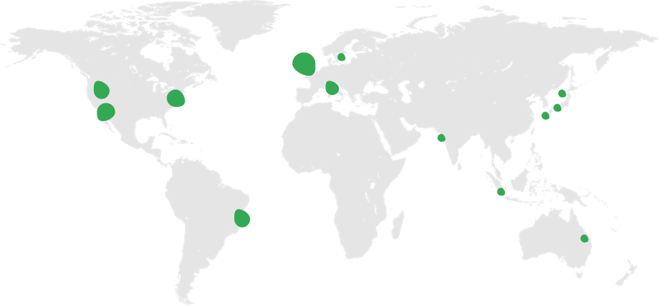 World map with green dots depiciting regional centers and global coverage.
