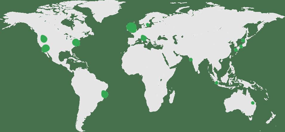 Mapa-múndi com pontos verdes representando centros regionais e cobertura global.