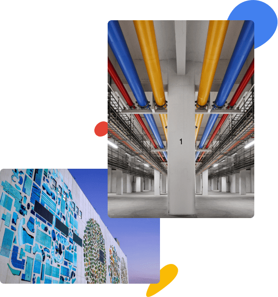 Indoor shot of data center with red, yellow, and blue pipes along the                             ceiling. Brightly colored mosiac on the outside of modern building.