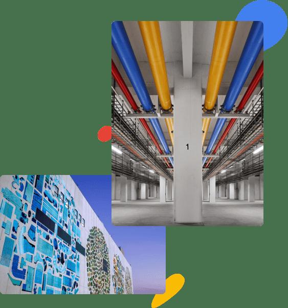 Foto do interior de um data center com encanamento vermelho, amarelo e azul no teto. Mosaico com cores vibrantes na fachada de um edifício moderno.
