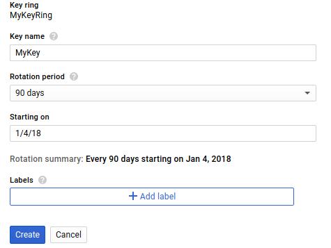 Pantalla de creación de claves en la IU web de GoogleCloudPlatform