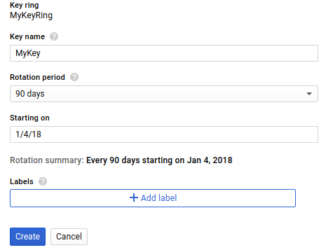 Key creation screen in Google Cloud web UI