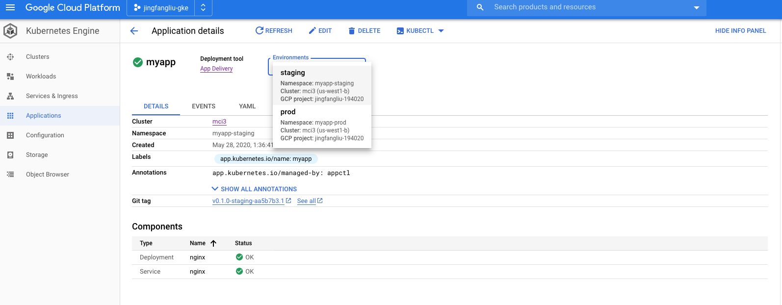 A screenshot of the application detail page.