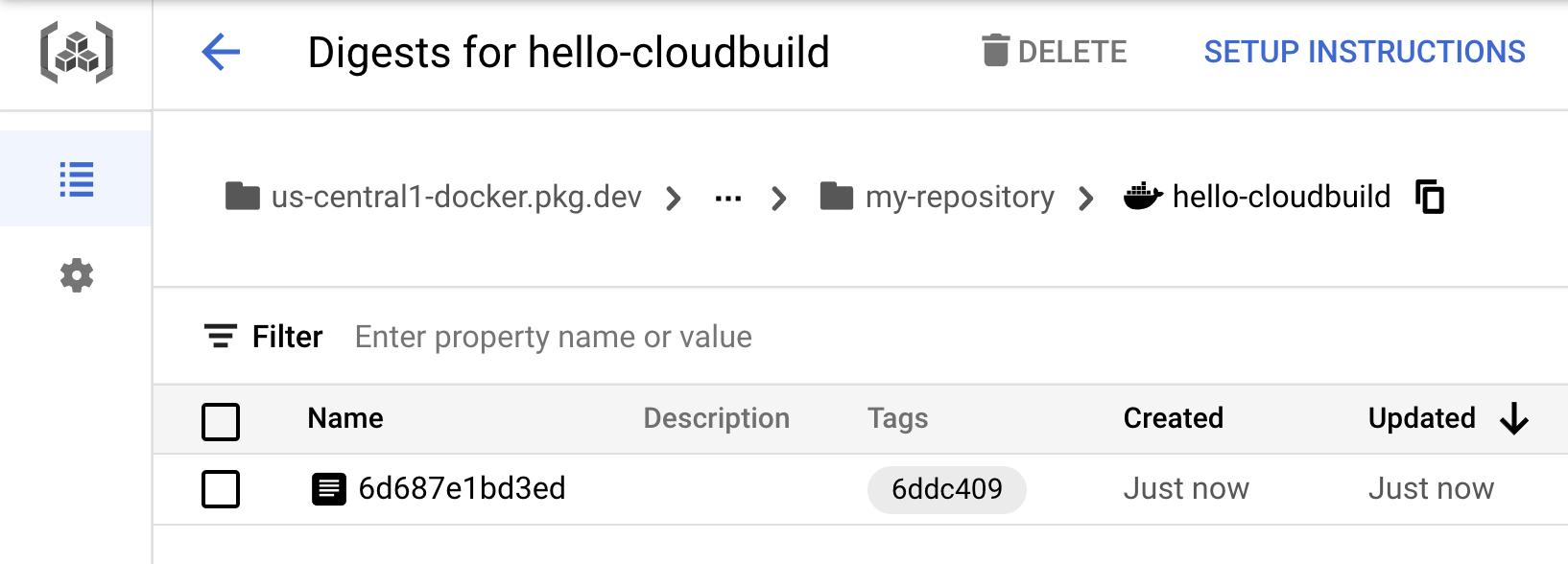 Container Registry 中的 hello-cloudbuild 映像檔